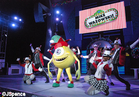 The show cast parties with Mike Wasowski during A Totally Tomorrowland Christmas!