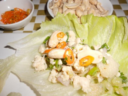 Thai Chicken Lettuce Cups, served with extra Chilli & Whole Peanuts...