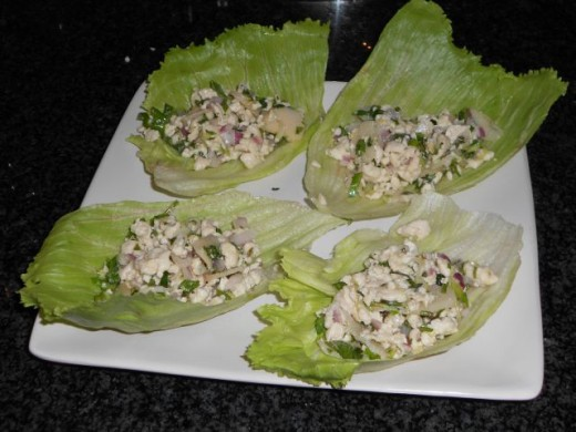 Large Servings of Thai Chicken Lettuce Cups
