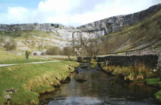 The approach to Malham Cove, with a stream