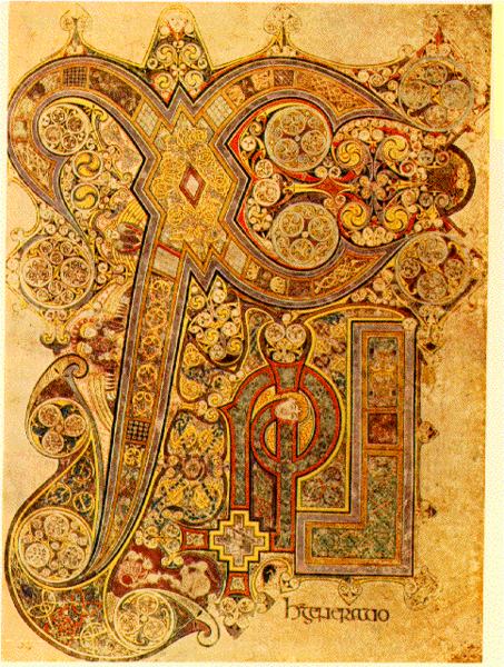 Illuminated manuscript of Chi Ro (Greek letters representing Christ).