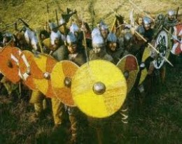 the Wessex wedge, the phalanx introduced by Aelfred after going through old writings and drawings about the Greek wars