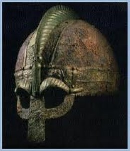 Archetypal Norse noble's helm with metal visor nosepiece and serpent-ridged crown