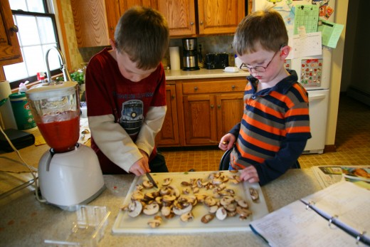 My sons, ages 4 and 6, cut mushrooms into pieces with a butter knife.