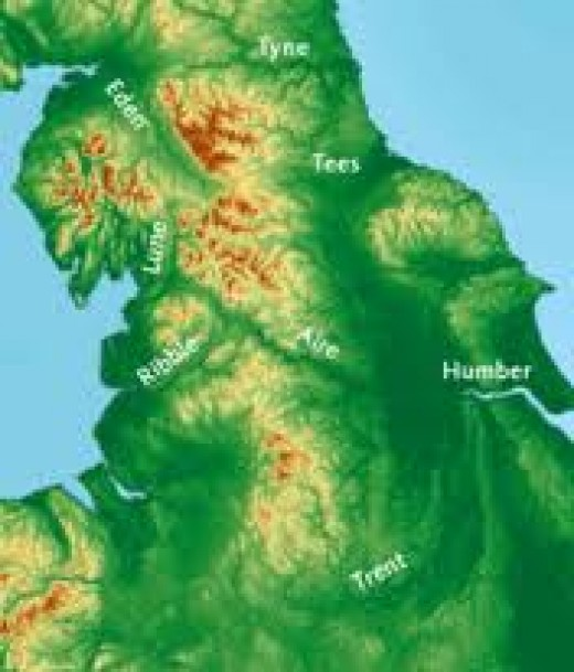 Topography of Northumbria and Mercia - Stainmore Common is near the head of the River Tees (top centre)
