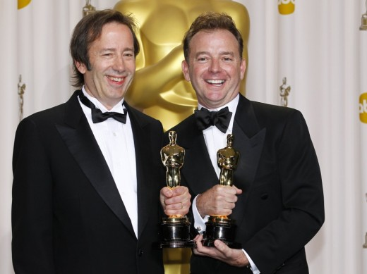 Philip Stockton and Eugene Gearty pick up their Oscar for Best Sound Editing on the Film Hugo