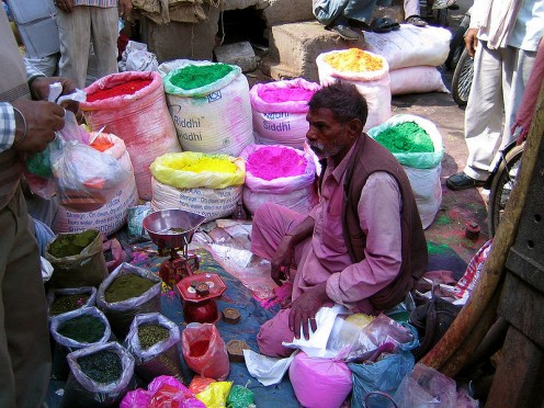 A Vendor Selling Holi Colors