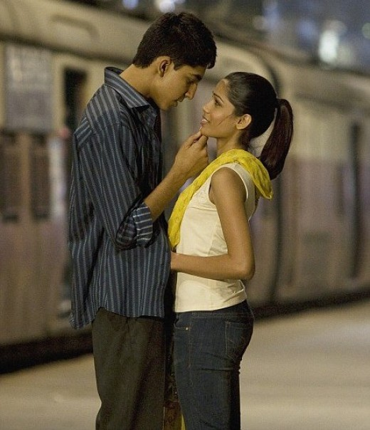 Freida Pinto and co-star boyfriend Dev Patel in a still from Slumdog Millionaire.