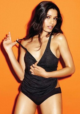 This is a recent picture of Freida Pinto while she was doing a photo shoot for Esquire. She talked about how her life was going with boyfriend Dev Patel and some of her roles in upcoming movies.