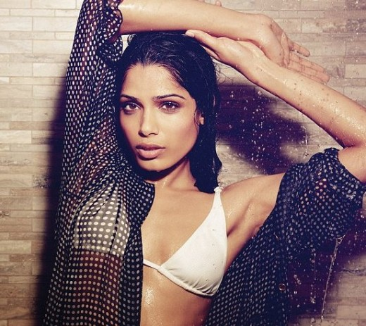 Freida Pinto posing for Esquire