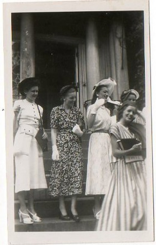 My mom (in the dark dress) graduating from Finishing School in the mid 1940s