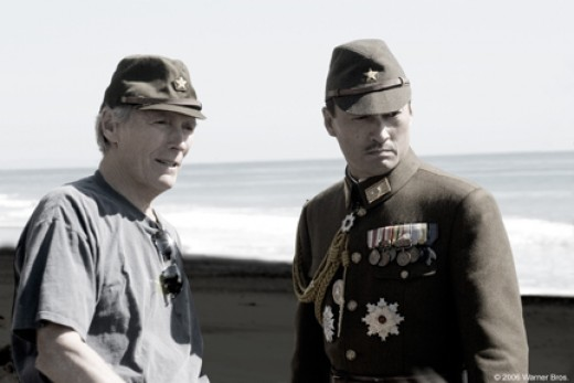 "Director Clint Eastwood with actor Ken Watanabe on the set of ""Letters from Iwo Jima"""
