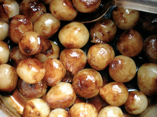 Pearl Onions Roasted in The Pan Drippings