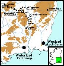 Waterford and Wexford in south-eastern Ireland