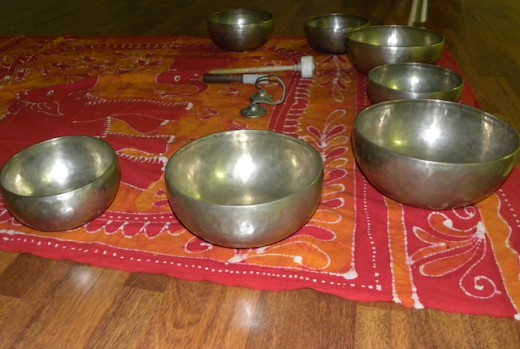 Seven Tibetan Singing Bowls Katie uses in her therapy. They relate to the main chakras.
