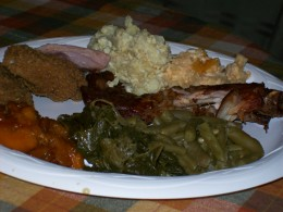 Delicious turkey wings were prepared by Marie, along with Ocie's collard greens and candied yams