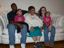 Suzie with her grandson Keon and his family.