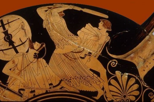 Andromache attempts to protect her son from the Achaean raiders, Trojan War