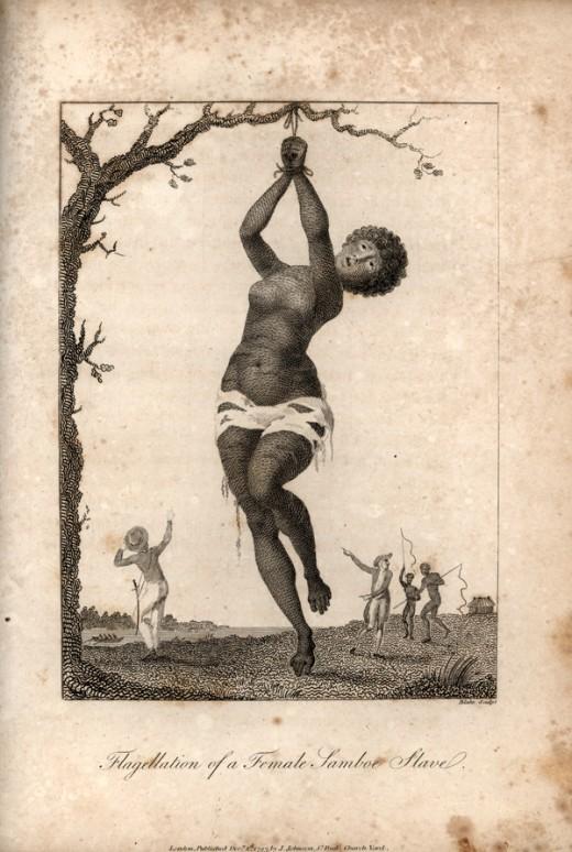 A slave punished.  Artist: William Blake