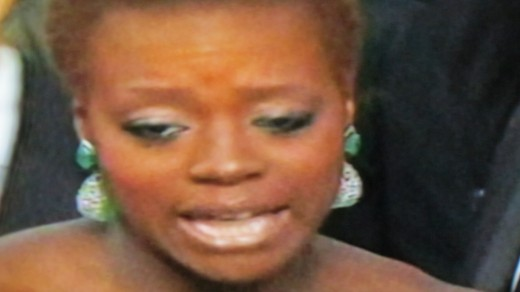 Viola Davis being interviewed before the Oscars on the red carpet.