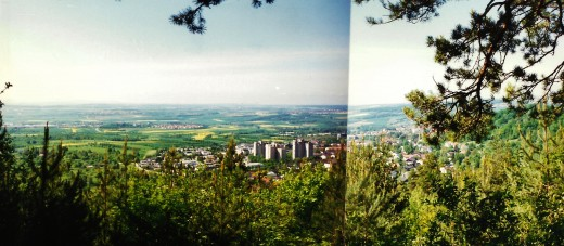 2 photos pieced together showing Herrenberg & landscape below the Alten Rain (forested area) which was high above.