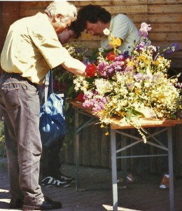 Flowers being combined for the altar decorations.