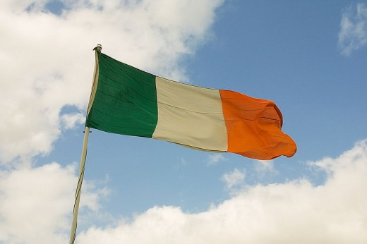 The Irish Flag contains green to represent the Catholics, white to represent peace, and orange to represent Protestants
