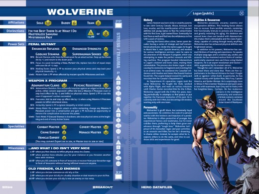 A sampling of the Marvel Heroic Roleplaying Game's Datafile staring everyone's favorite immortal badass with claws--Wolverine!