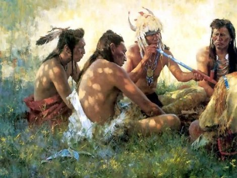 Native North Americans smoking.