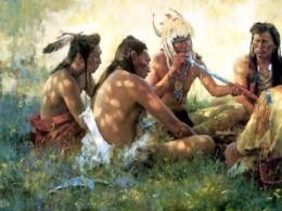 Native North Americans smoking.