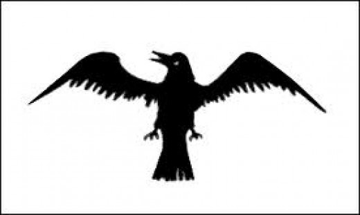 Flapping raven banner of Jarl Sigurd crafted for him by his sorceress mother