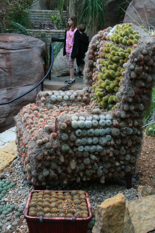 A cactus sculpture of a chair (have a seat!).