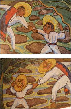 """Segments of """"Juchitán River or Bath in the River or Bath of Tehuantepec"""" Mural (c1956) by Diego Rivera (Venetian mosaic, both sides). Muralism Collection of the richest man in the world: Carlos Slim Helu. Museo Soumaya, Mexico City."""