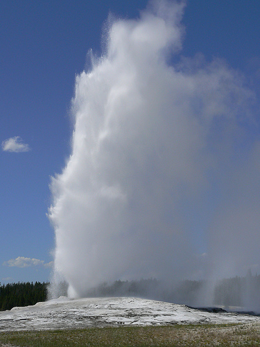 Old Faithful was the first named of the 300 geysers in the park and now erupts every 91 minutes