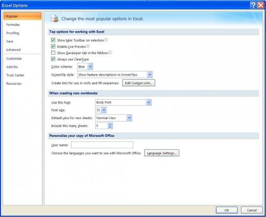 Excel Options ==  Popular Tab
