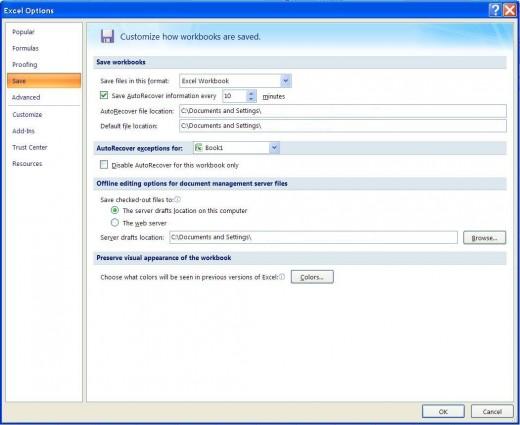 Excel Options ==  Save Tab
