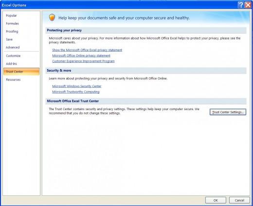 Excel Options ==  Trust Tab