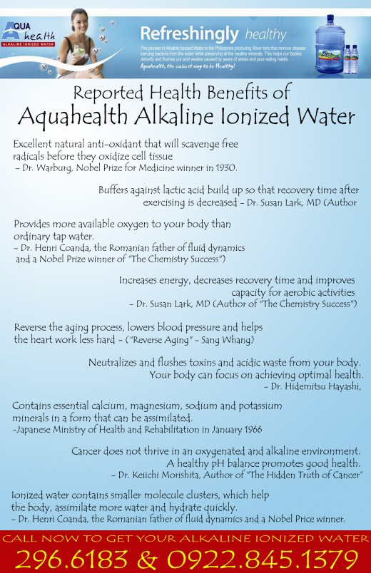 Reported Health Benefits of Alkaline Ionized Water