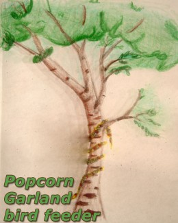 Grandmother's Popcorn Garland Bird Feeder is the easiest craft of all!