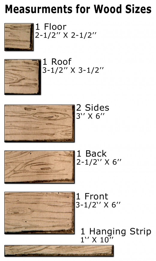 An easy to follow size chart for measuring the pieces of wood needed to make your birdhouse.