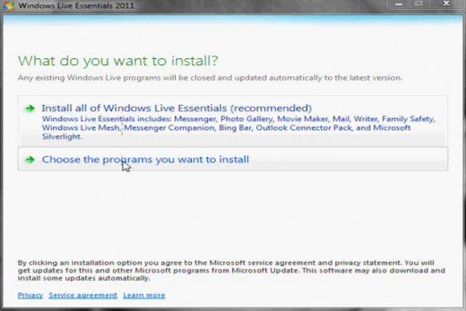 Elect to specify which programs you want to install.