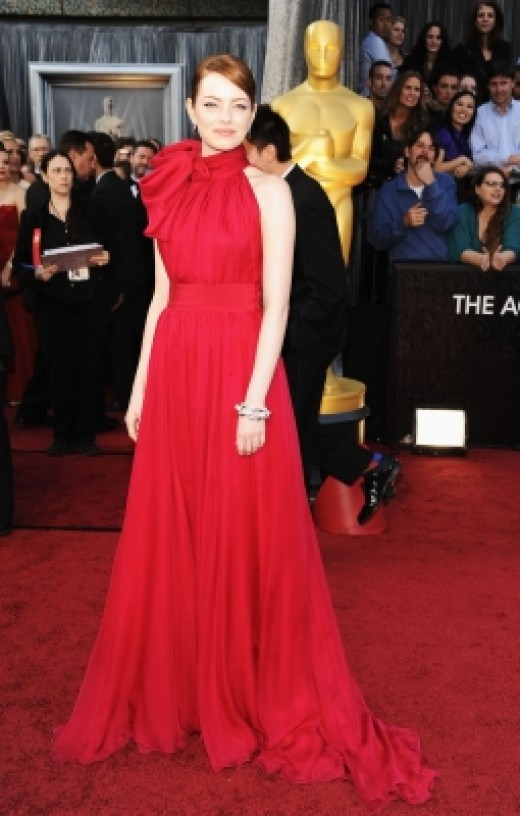 Emma Stone wears red at the 84th Annual Academy Awards