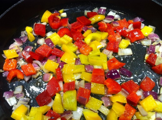 Onions, and Bell Peppers Sautéing