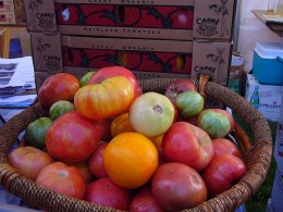 Mixed Heirloom Tomatoes at a Produce Market