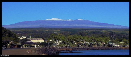Snow-capped Mauna Kea from Hilo