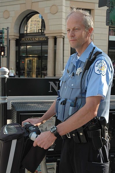 A Chicago police officer on a segway.