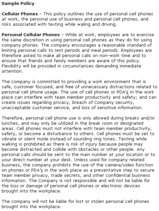 mobile phone policy template - texting at work and social media distractions costing