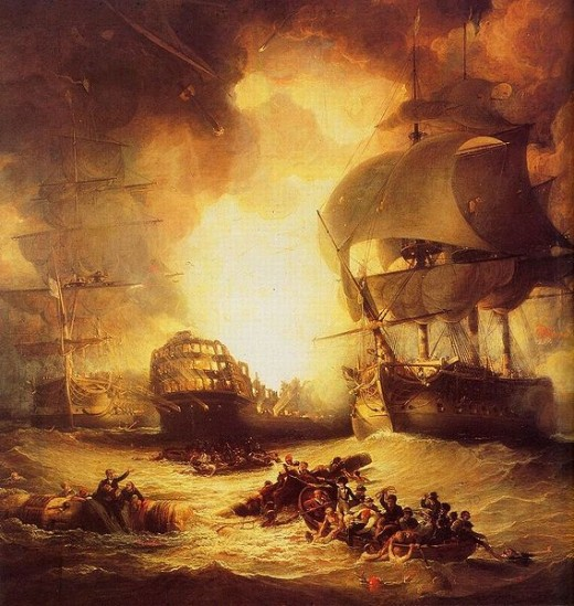 The explosion of the L'Orient, the French flagship meant that defeat for France was a certainty.
