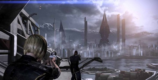 Mass Effect 3 Shepard and Anderson Escape from Earth as the Reapers Attack