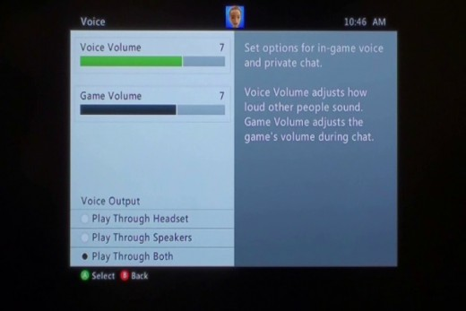 Navigate to the Preferences section in your Xbox 360's settings to adjust the game and chat volume, and what the chat audio is played through.